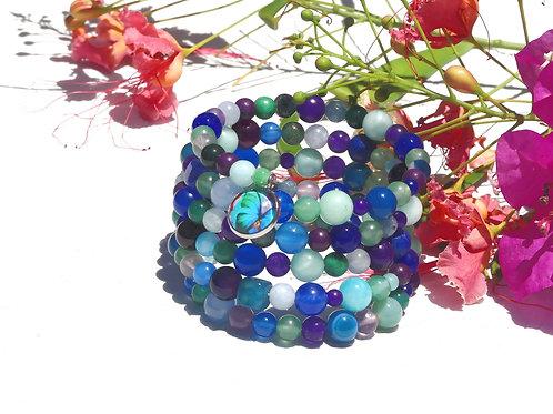Bracelet perles turquoises violettes