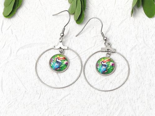 Boucles d'oreille créoles toucans