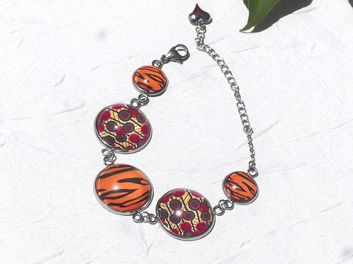 Bracelet chaine cabochons orangé