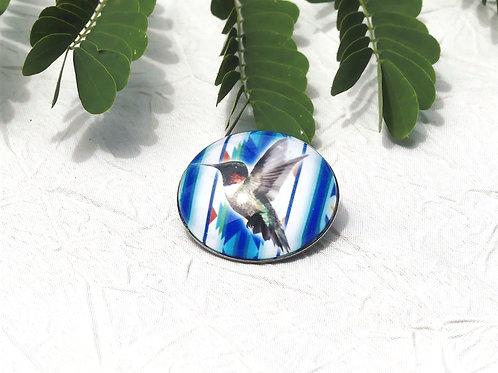 Broche colibri bleu