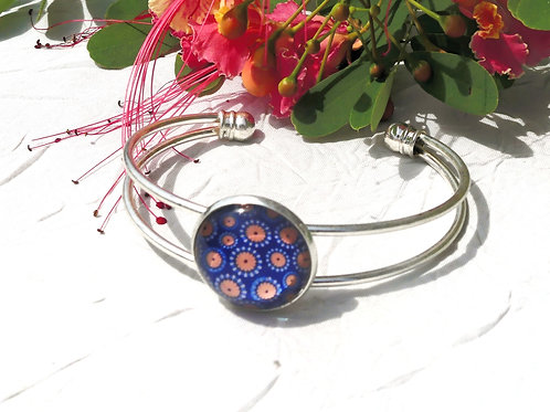 Bracelet jonc bleu orange