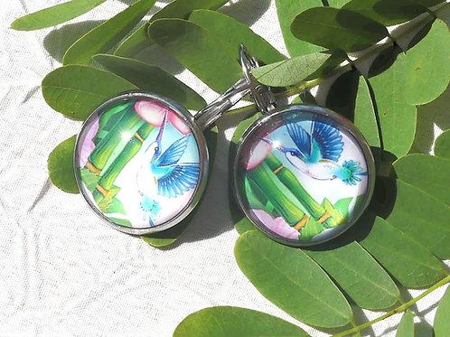 Dormeuses fleur bambous colibri