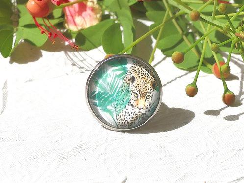 Bague réglable jaguar feuillage