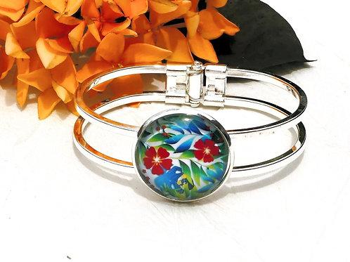Bracelet fleurs rouges