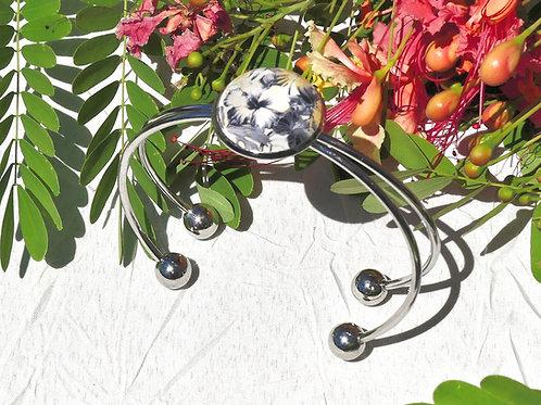 Bracelet fleur ibiscus beige grise