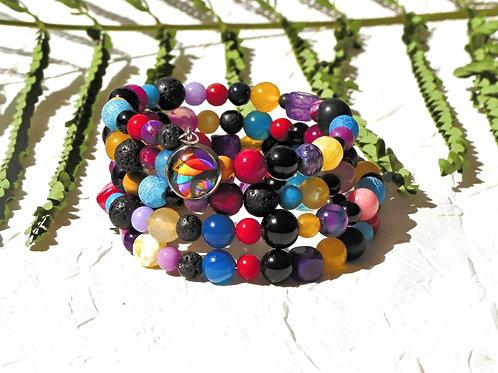Bracelet perles multicolores