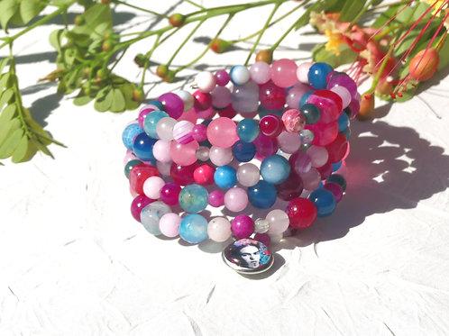 Bracelet perles roses turquoises