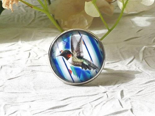 Bague colibri bleu