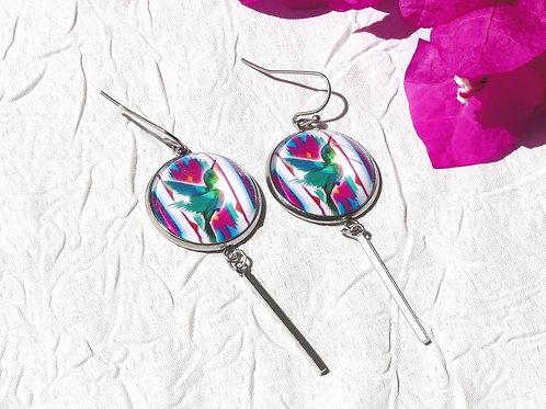 Boucles d'oreille pendantes colibris
