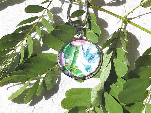 Collier fleur bambous colibri