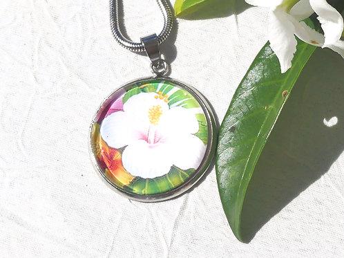 Sautoir collier hibiscus blanc