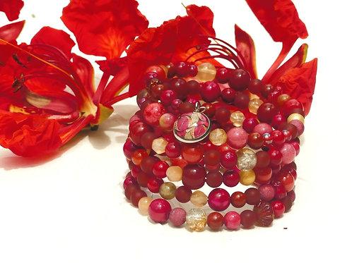 Bracelet perles de gemmes rouges