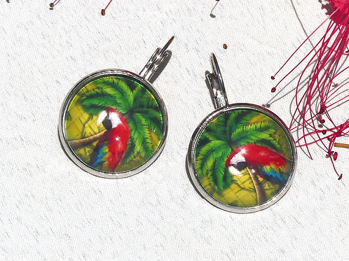 Boucles d'oreille  aras rouges vertes