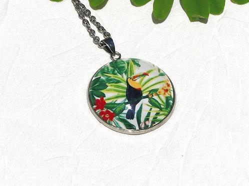 Sautoir collier toucan jaune