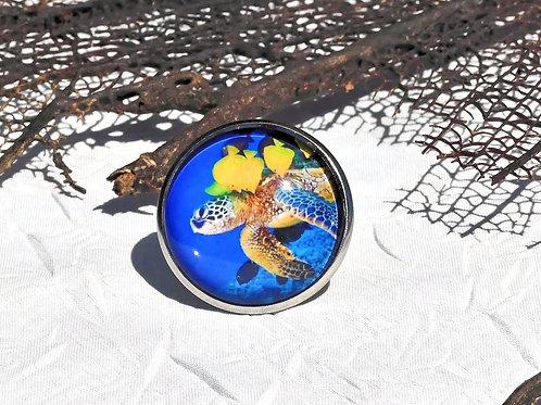 Bague bleue tortue