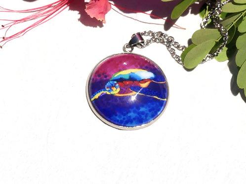 Collier  sautoir tortue violette rose