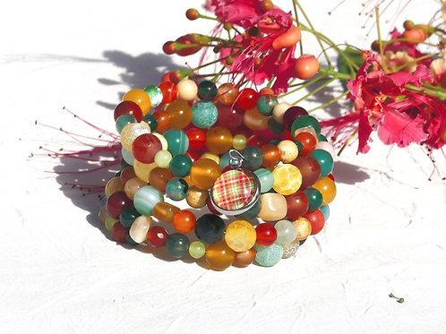 Bracelet manchette perles madras