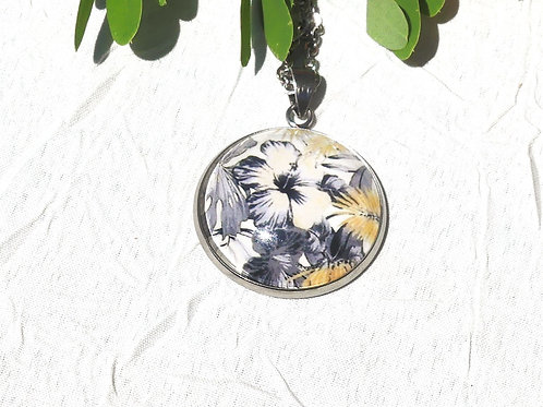 Collier retro ibiscus beige grise