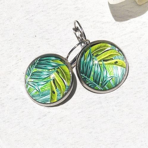 Boucles d'oreille motif tropical