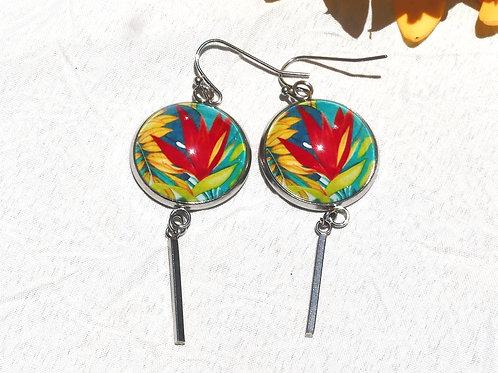 Boucles d'oreille fleur tropicale