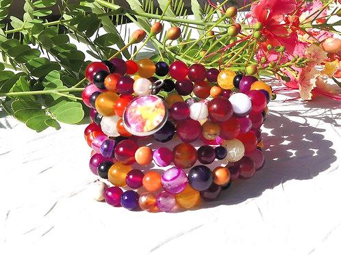 Bracelet manchette perles de gemme