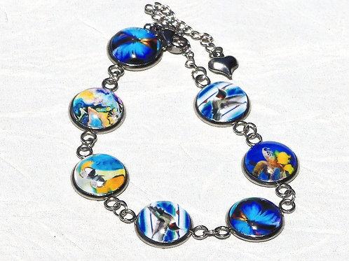 Bracelet multi-cabochons bleus