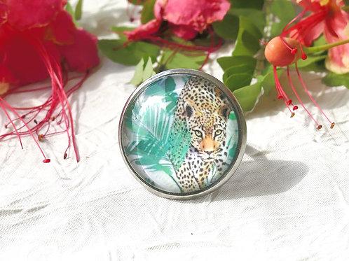 Bague jaguar et feuillage