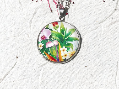 Sautoir collier fleurs tropicales