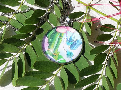 Sautoir fleur bambous colibri