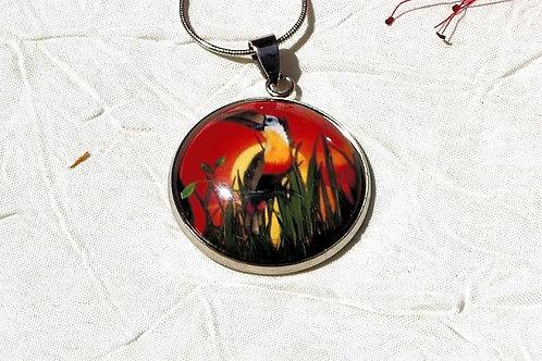Collier sautoir toucan orange