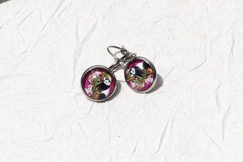 Ptt boucles d'oreille panda rose