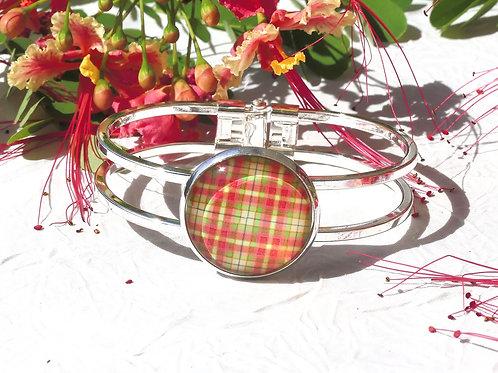 Bracelet madras rouge vert jaune
