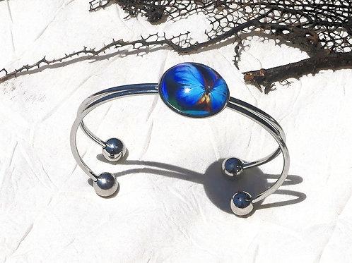 Bracelet jonc morpho bleu