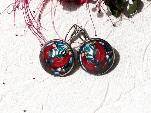 Boucles d'oreille perruches rouges