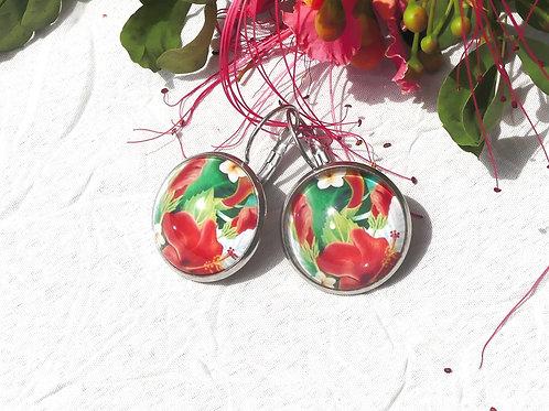 Boucles d'oreille fleurs rouges