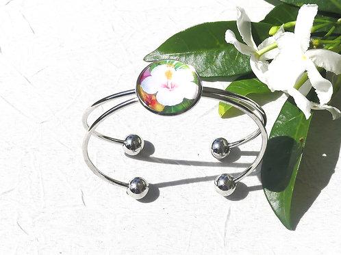 Bracelet jonc hibiscus blanc