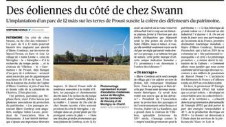"""Le """"FIGARO"""" soutient le combat contre les éoliennes JPee au pays de Marcel Proust"""