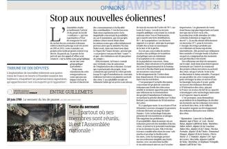 """""""Stop aux nouvelles éoliennes"""" tribune de 10 députés dans le Figaro."""