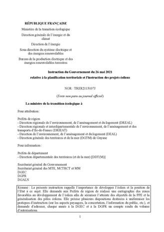 Circulaire de Barbara Pompili aux préfets pour accélérer les implantations éoliennes.