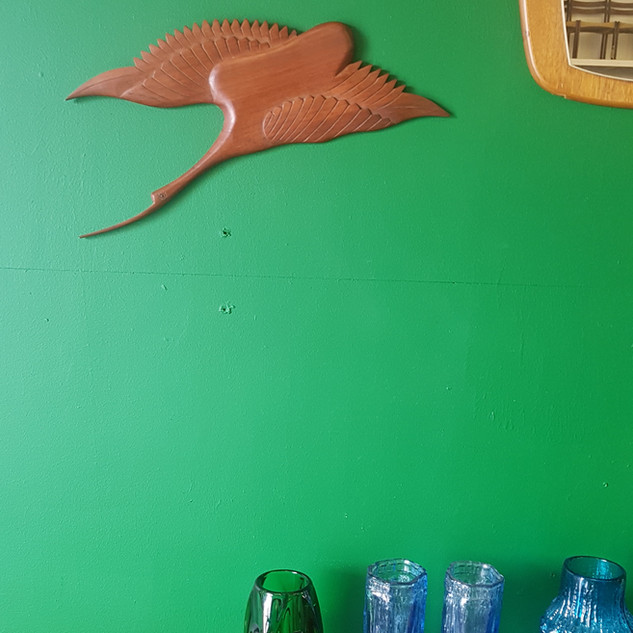 Retro teak bird wall art.