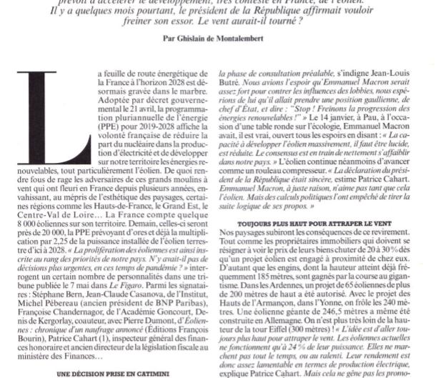 Le Grand Revirement d'Emmanuel Macron en faveur des promoteurs éoliens.
