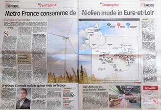 """""""Double page"""" de promotion de la pollution éolienne dans l'Écho Républicain."""
