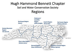 Hugh Hammond Bennett Chapter of the Soil and Water Conservation Society Regions and representatives map by county