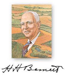 Artistic rendition of Hugh Hammond Bennett amongst farm land