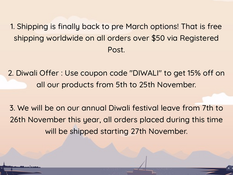 Free Shipping over $50, worldwide now! 15% off site-wide for Diwali Offer 2020!