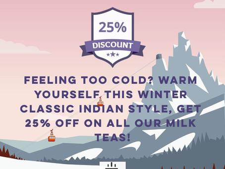 Milk Tea Offer! FLAT 25% off![expired]