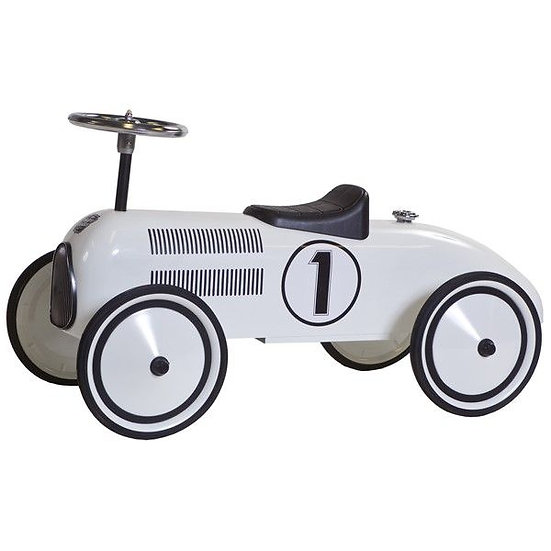 Retro loopwagen wit (incl naam)