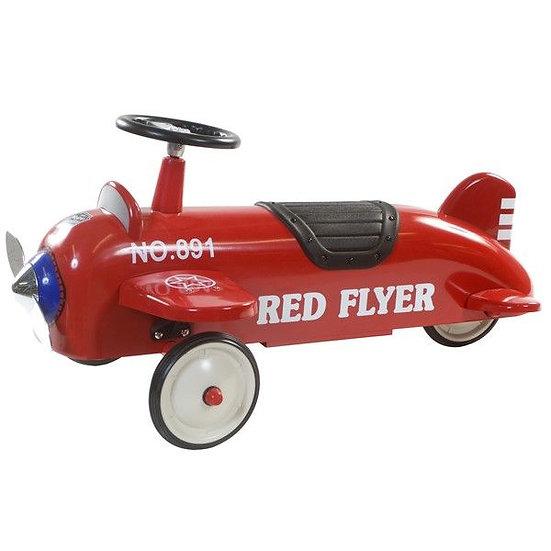 Retro loopwagen vliegtuig rood (incl naam)