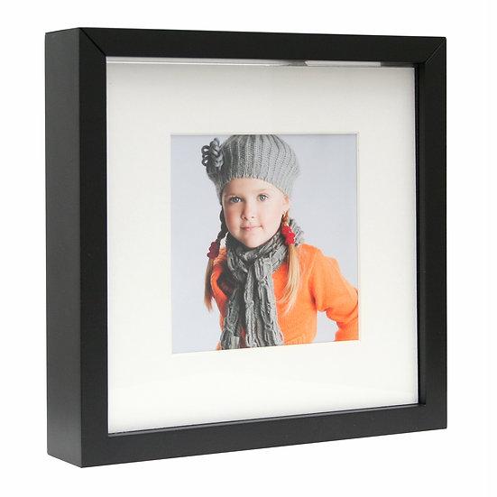 Fotobox passe-partout zwart   foto's 10x10cm (incl naam)