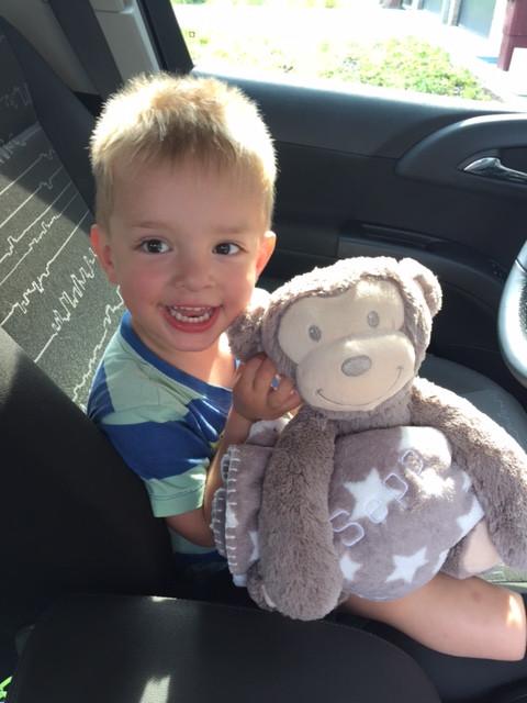 """Seppe was zijn trouwe vriend kwijt en ze vonden deze knuffel in ons assortiment!  Zonet hebben wij deze fantastische foto en tekst ontvangen! """"Mijn zoontje is heel blij met z'n aapje! Dank jullie wel!!"""""""